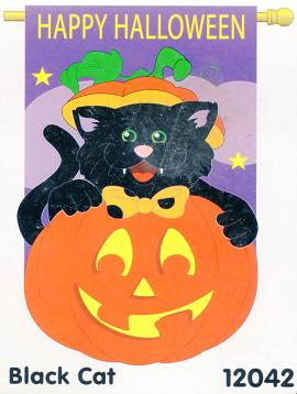 Black Cat Applique Flag