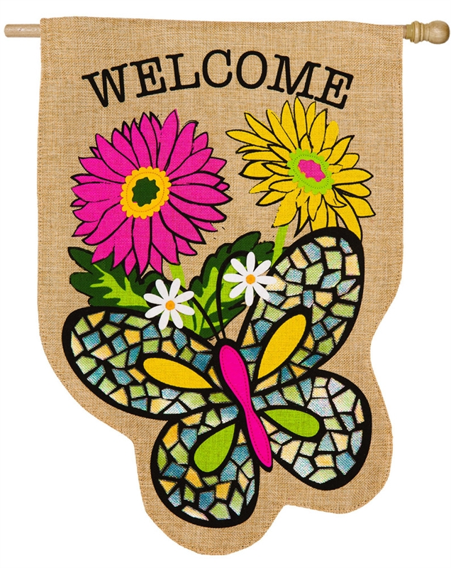 Butterfly House Burlap Banner